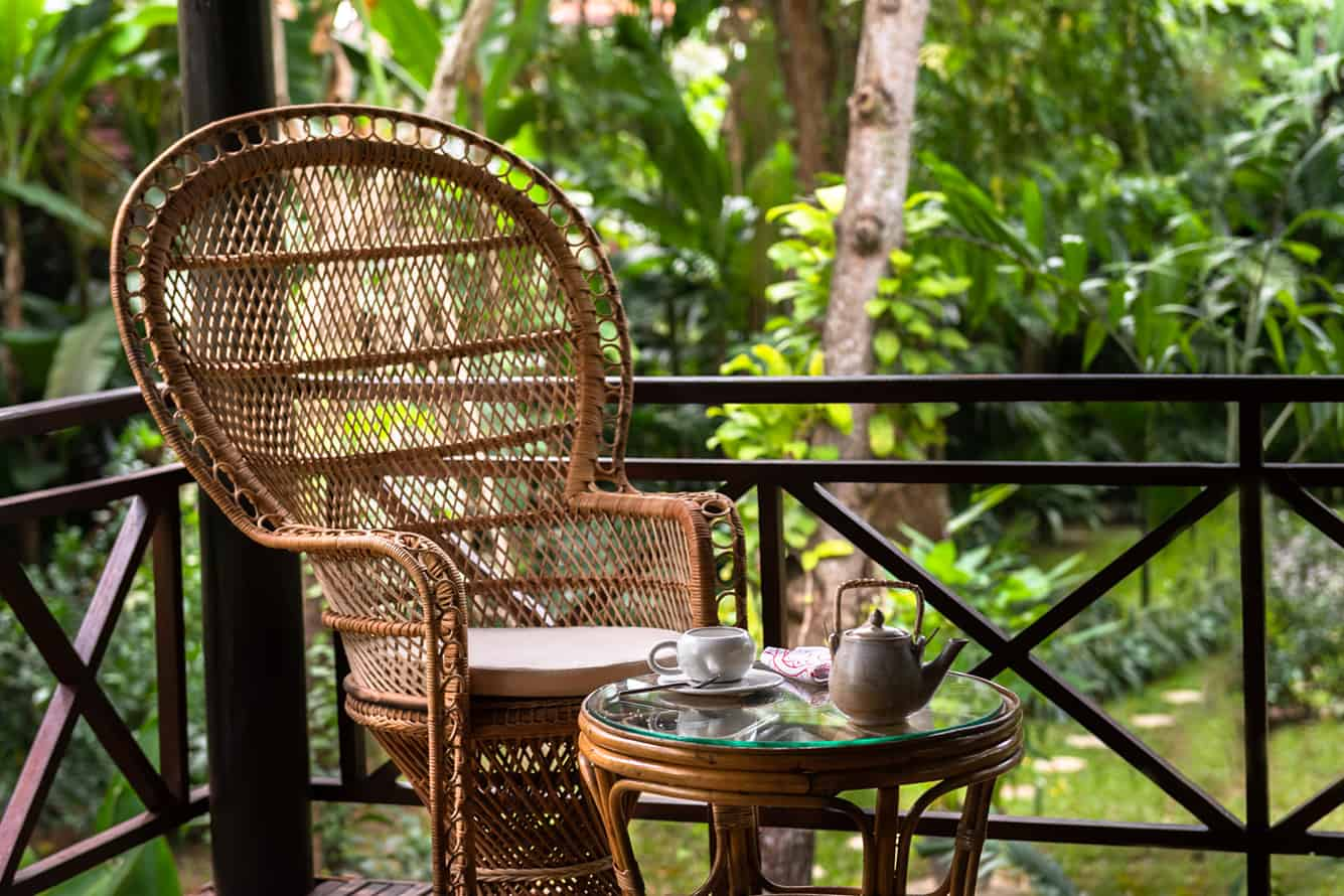 Relaxed Tea in Garden Cottage House