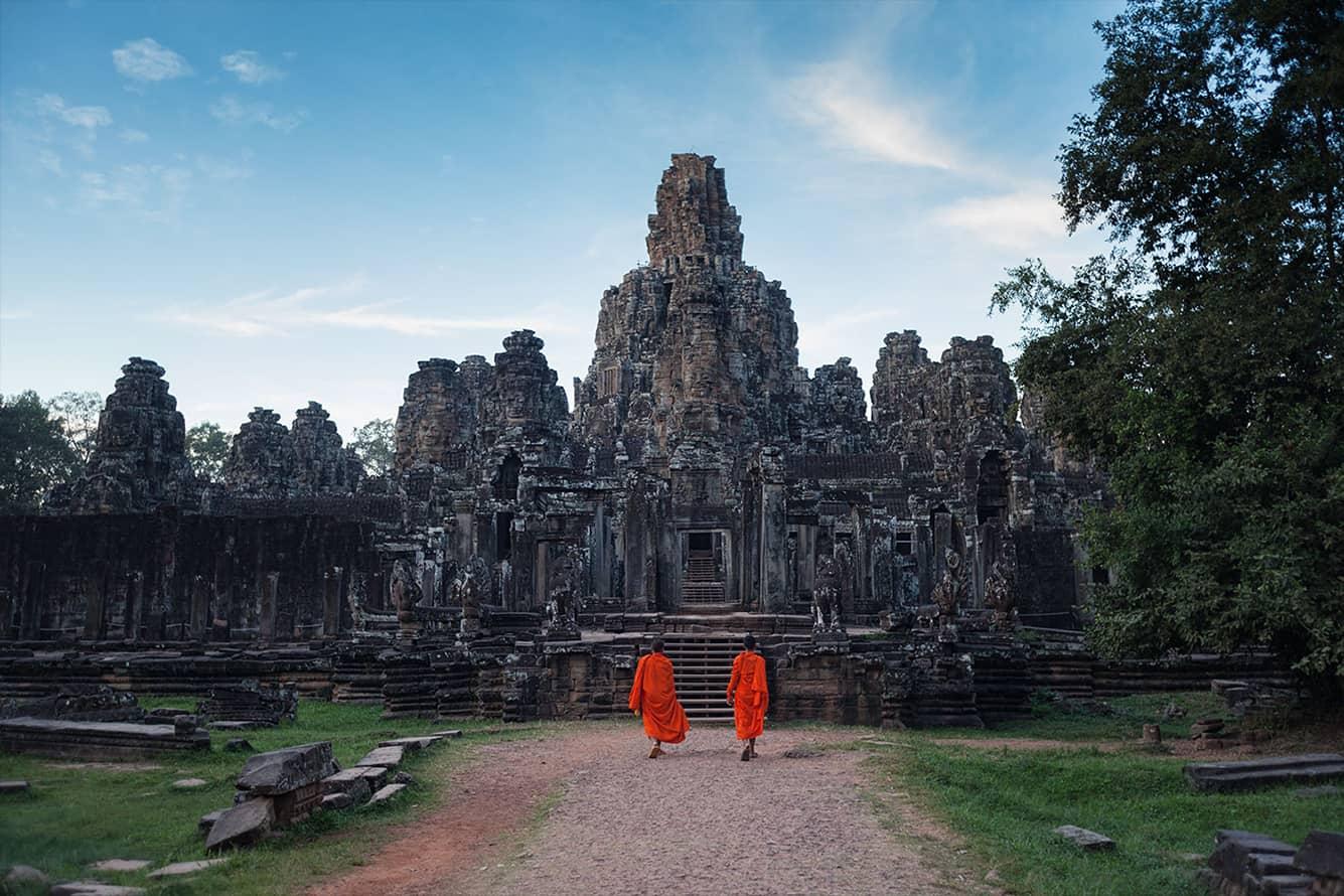 Monks Visit Bayon Temple