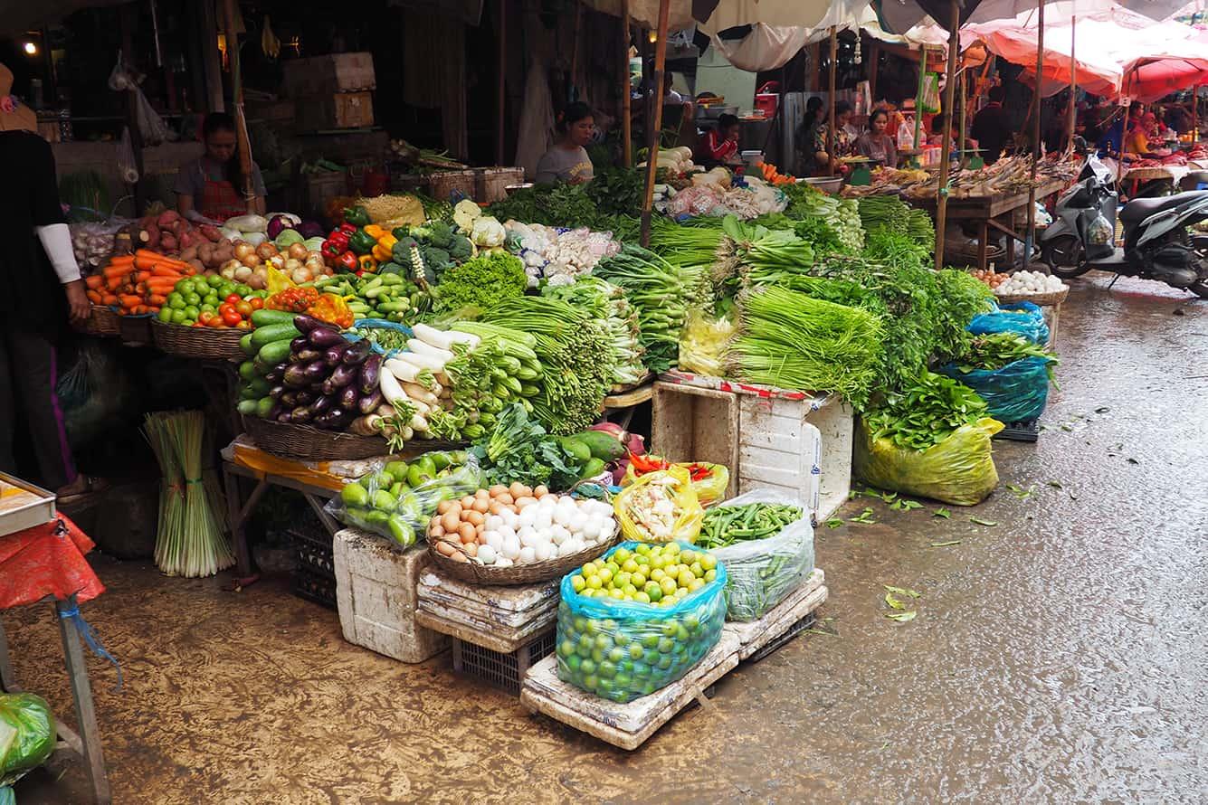 Vegetable Sellers in Siem Reap Local Market