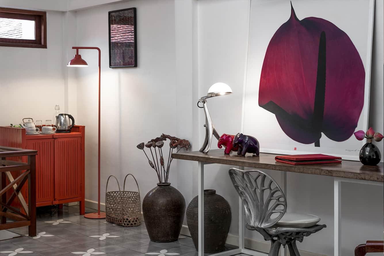 Maison Polanka Purple Suite Sacred Fig Leaf Painting